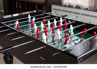 Table football game, Soccer table with red and white players