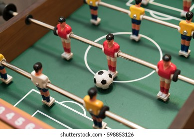 Table football game top view close