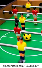 table football soccer game, close up, yellow ball