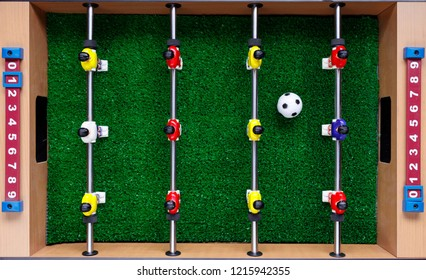 table football soccer kicker game players, top view