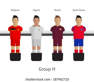 Table football, soccer players. Group H - Belgium, Algeria, Russia, South Korea. See also vector version.