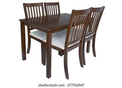 Table and four chairs for kitchen, isolated on white background