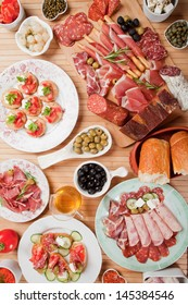 Table full of antipasto or tapas, appetizer food