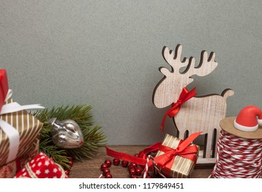 table full with christmas decoration and deer