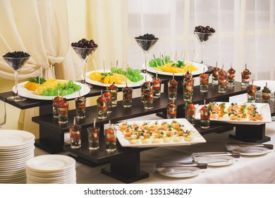 Table full of healthy delicious snacks for event celebration. Horizontal color photography.