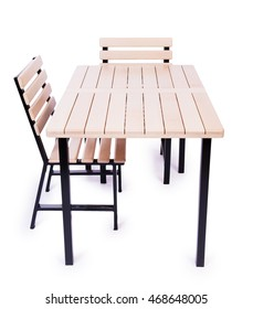 Table furniture isolated on the white