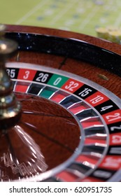 Table with a game of roulette in the casino