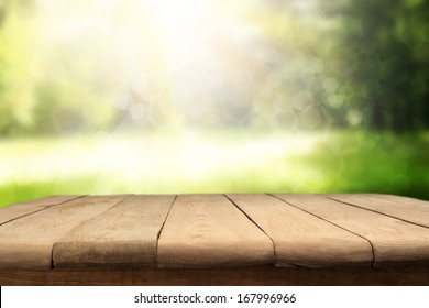 table and garden space with bokeh decoration