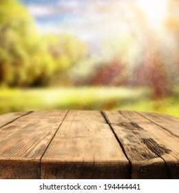 table in garden and sunlight