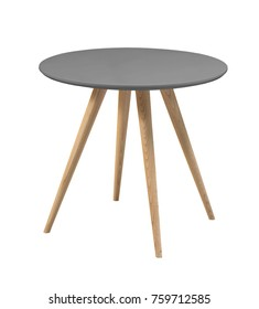 Table with gray round top and wooden legs on a white background