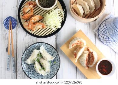 The table of Gyoza (Japanese Dumplings)