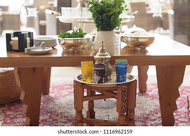 table with ingredients for Moroccan tea