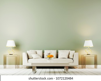 table lamp above beige sofa in sophisticated living room interior with side table on a empty wall background. 3D rendering