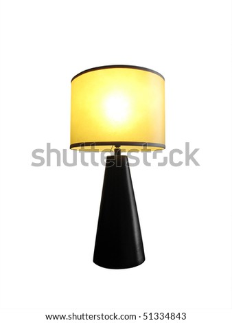 Table Lamp Lit Yellow Shade Stock Photo Edit Now 51334843
