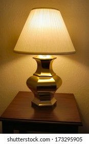 Table lamp on bedside table