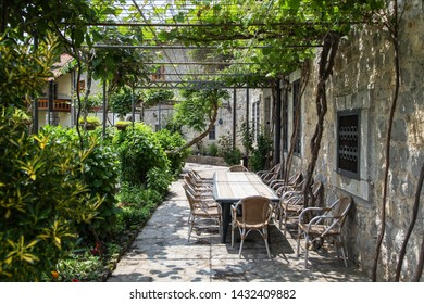 Table for a large company in the yard of an old house surrounded by green plants
