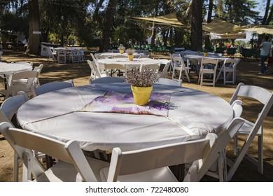 Table of Lavender Festival of 123 Farm at San Bernardino, Los Angeles County, United States