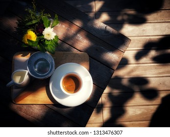 Coffy on the table, flat lay