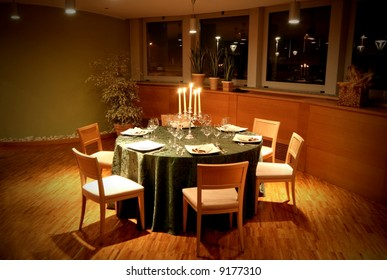 a table in the luxury restaurant