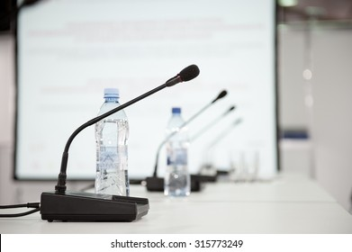 Table microphone at conference hall