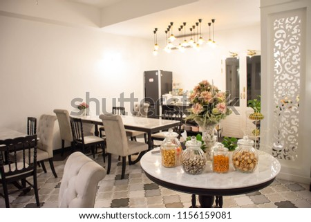 Table Mini Bar Dining And Flower Vase In The Hotel