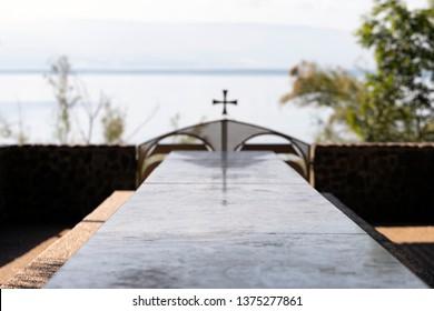 Table in Monastery of Twelve Aposltles, Capernaum, Israel.