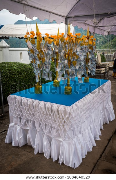 Table with money tree