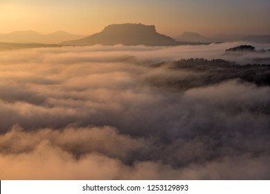 Table mountain above the inversion cover
