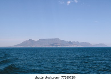 Table Mountain and Cape Town seen from the other side of Table Bay, South Africa.