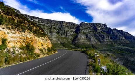 Table mountain and a driving road, Cape Town, South Africa