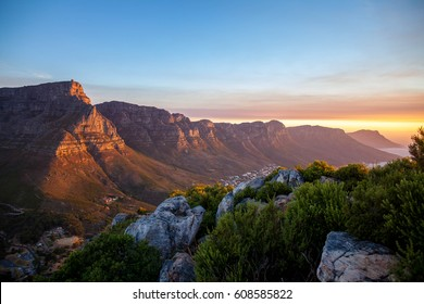 Table Mountain during sunset