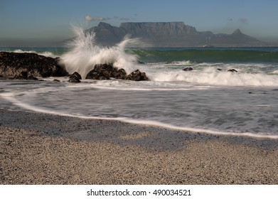 Table Mountain Landscape with Waves and Ocean