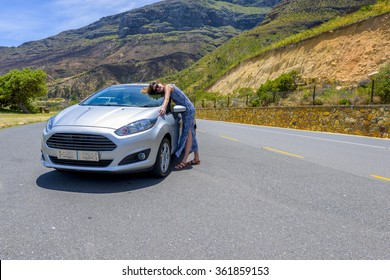 TABLE MOUNTAIN PASS, SOUTH AFRICA - DECEMBER 6 2015: FORD FIESTA 2015 model on mountain pass