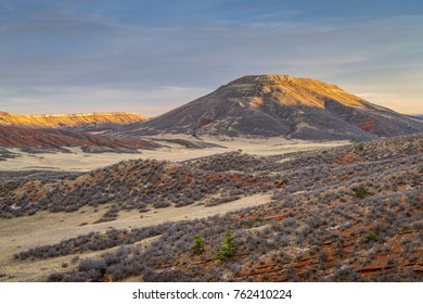 Table Mountain in sunset light , Red Mountain Open Space in northern Colorado in fall scenery