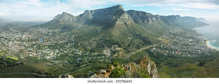 Table Mountain and twelve apostles from Lions head, Cape Town, South Africa