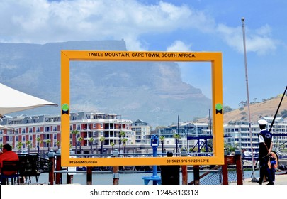 Table Mountain viewing station, tourist landmarks found throughout Cape Town. Victoria and Alfred waterfront, Cape Town city, South Africa. December 2018