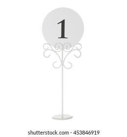 Table number holder on white background