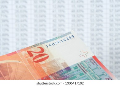 A table with numbers and a banknotes Swiss Franc CHF
