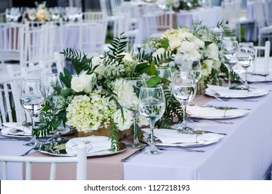 Table for a party or a wedding reception, a decoration concept for weddings or social events