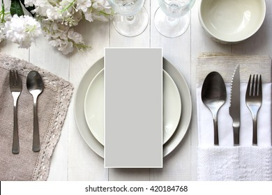 Table place, reserve card, menu mockup.  Vintage fashion photography. Wedding dinner design. Beautiful dishware, traditional style.