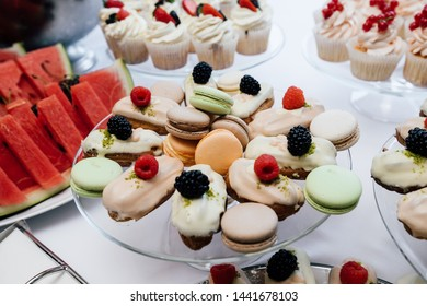 Table in a restaurant with desserts. Catering