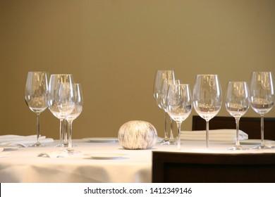 Table in a restaurant for dinner