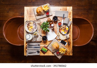 Table at a restaurant with served food