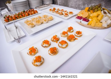Table in the restaurant with snacks. Catering