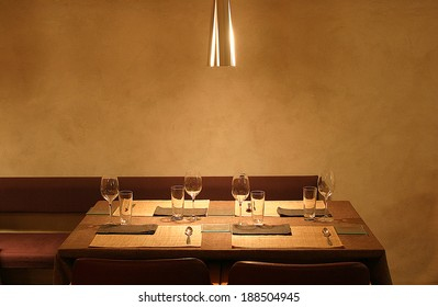 Table in a restaurant, warm interior.