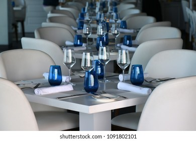 Table in restaurant. White and blue.