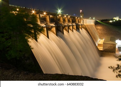 Table Rock Lake Dam on May 4th, 2017 with the Army Corps of Engineers having all the gates open and flowing.  Table Rock Lake is located just outside of the Branson, Missouri area in the Ozarks.
