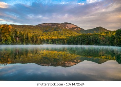 Table Rock State Park and Pinnacle Lake at sunrise near Greenville South Carolina