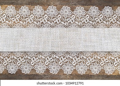 Table Runner With Openwork Lace Border On Brown Wooden Rustic Background Decorative Fabric