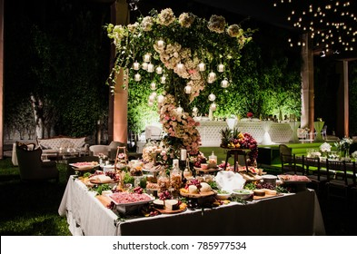 Table of salty snacks for a wedding